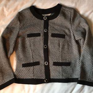 3 for $30 tweed b/w collarless jacket